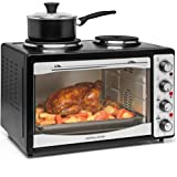 Andrew James Mini Oven With Hob and Grill | 1300W 33L Electric Oven with Double Hotplate 700W & 1000W | Table Top Cooker with 5 Preset Functions | Black