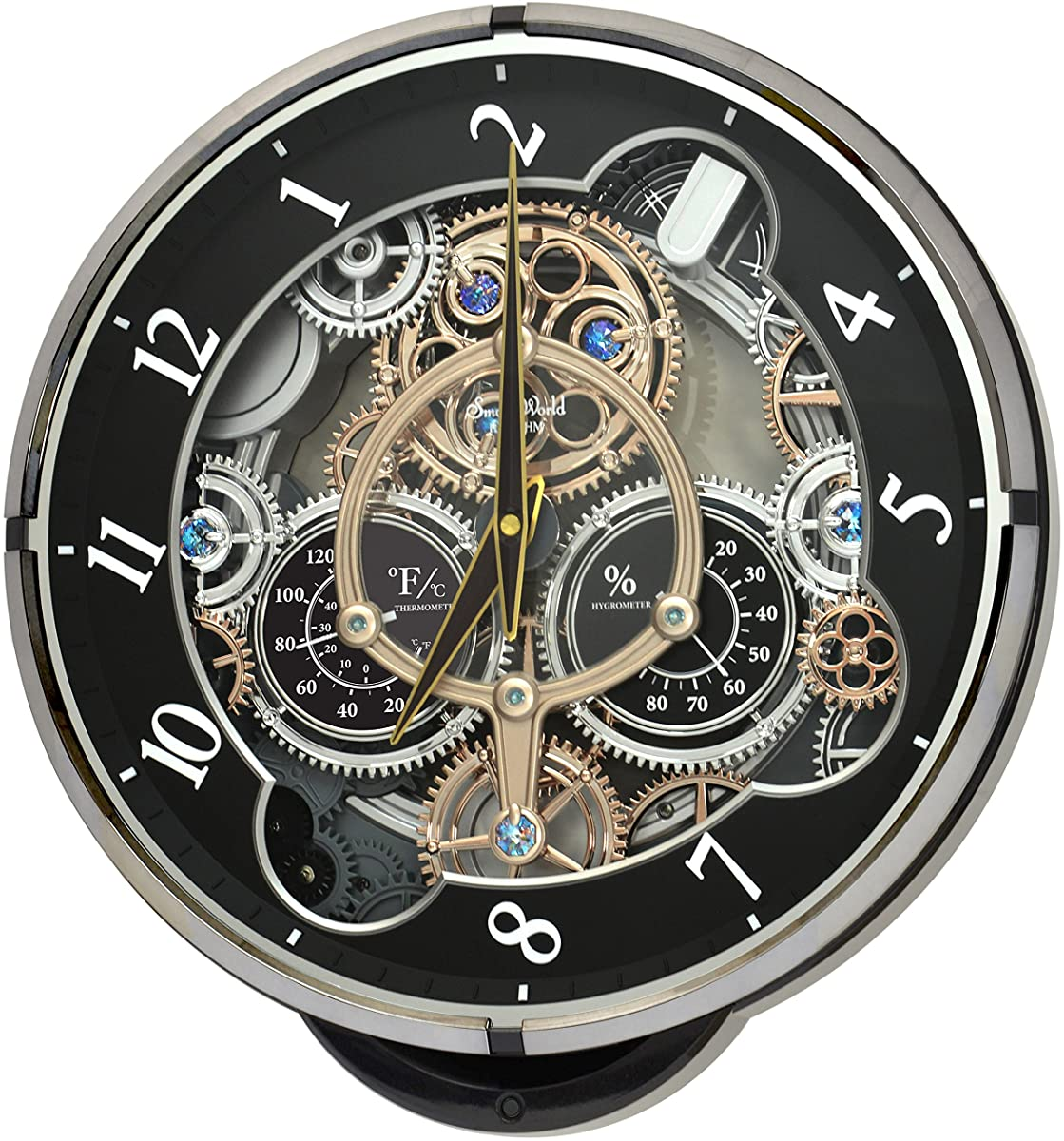 "Rhythm Clocks ""Gadget"" Magic Motion Clock, Black"