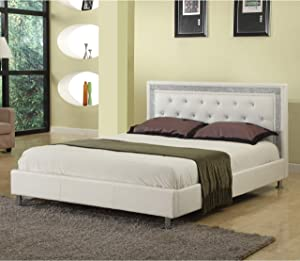 Best Master Furniture Bria Faux Leather Platform Bed, Queen, White