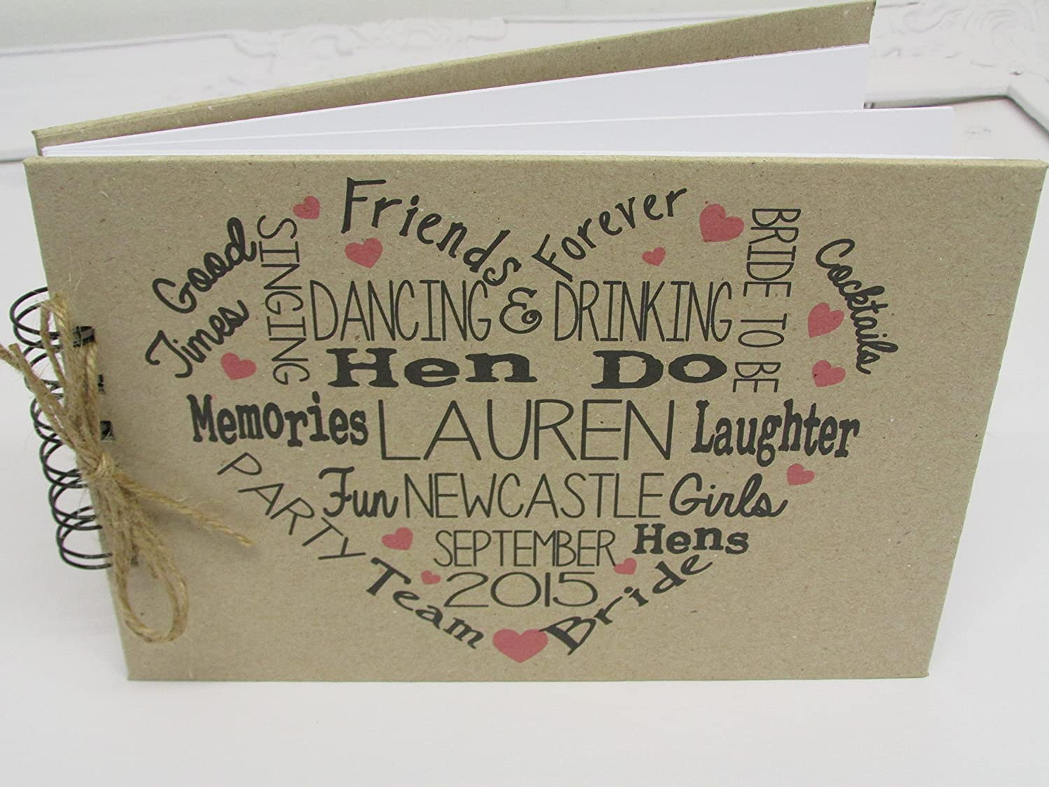 How to scrapbook uk - Typography Hen Do Guest Book Personalised Manilla Scrapbook Memory Book Album Free Delivery