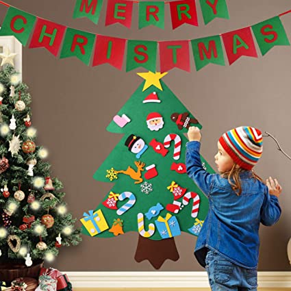 keriqi 3ft diy felt christmas tree set with 27pcs detachable ornaments wall hanging decorations xmas - Christmas Wall Hanging Decorations