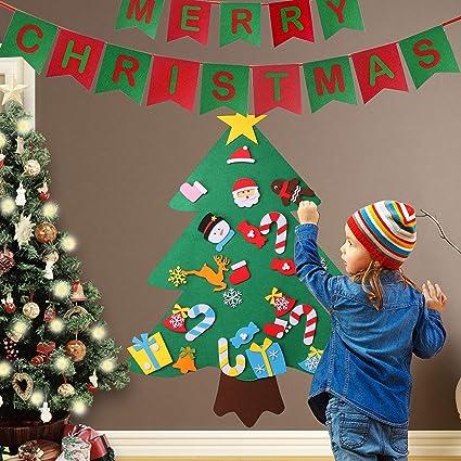 keriqi 3ft diy felt christmas tree set with 27pcs detachable ornaments wall hanging decorations xmas - Christmas Wall Hanging Decorations