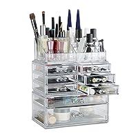 Relaxdays Make Up Organizer mit Schubladen, stapelbarer Schmink- und Schmuckkasten, Acryl Make Up Kit, versch. Farben