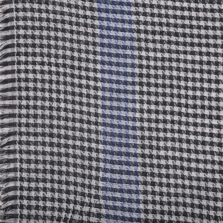 PARIJAT HANDICRAFT Handmade Unisex Woolen Scarf Wrap Checkered Pattern Indian Clothes Spring Fashion Accessories 27X70 Inch 120 Grams(Grey)