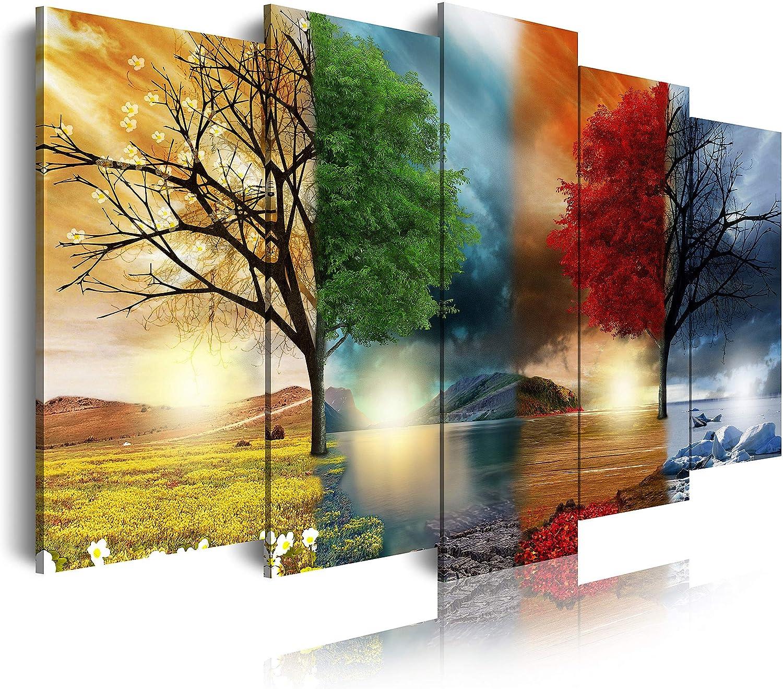 DekoArte - Cuadros Modernos Impresión de Imagen Artística Digitalizada | Lienzo Decorativo Para Tu Salón o Dormitorio | Estilo Paisaje Cuatro Estaciones del año Árboles Rojo | 5 Piezas 150 x 80 cm