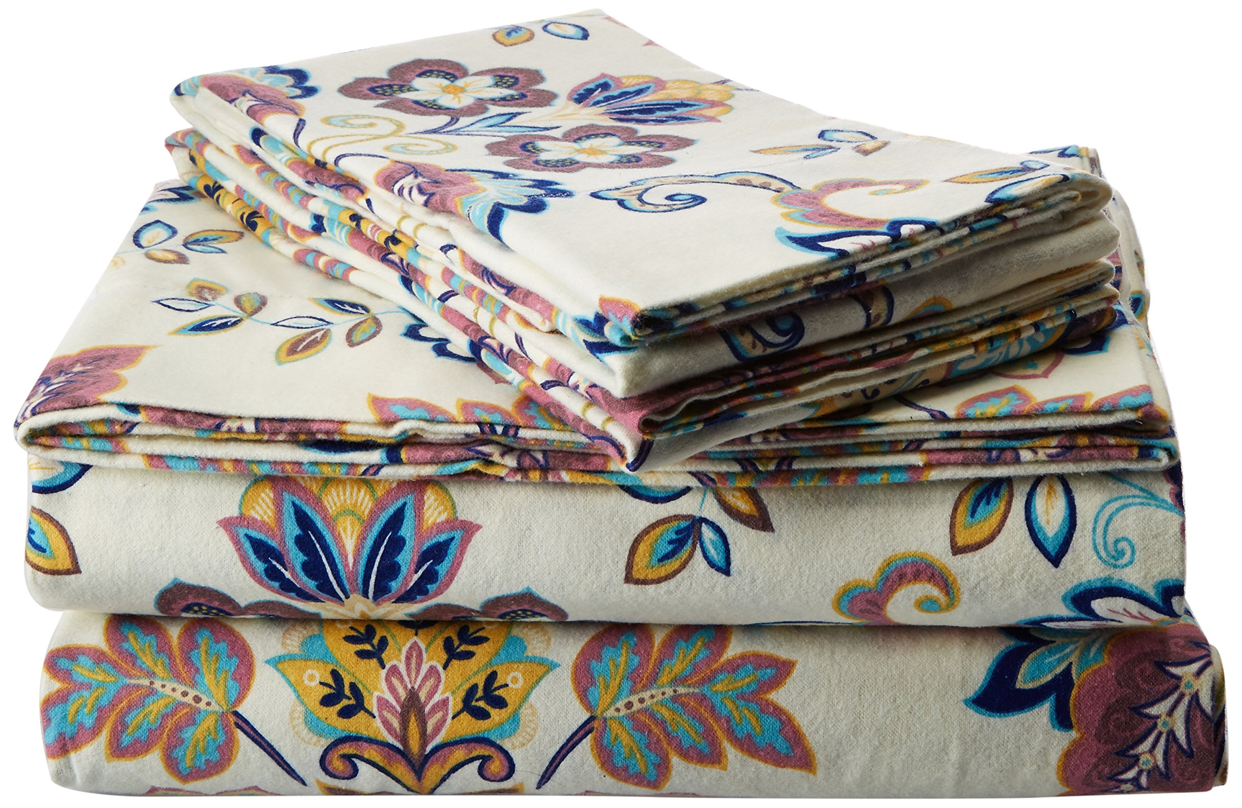 Tribeca Living 200-GSM Abstract Paisley Printed Deep Pocket Flannel Sheet Set, King, Multicolored - This extra deep pocket sheet set includes one flat sheet, one fitted sheet and two pillow cases 100% cotton; 200 gsm weight Brushed multiple times on both sides for softest finish and feel - sheet-sets, bedroom-sheets-comforters, bedroom - 91rVQI8bY5L -