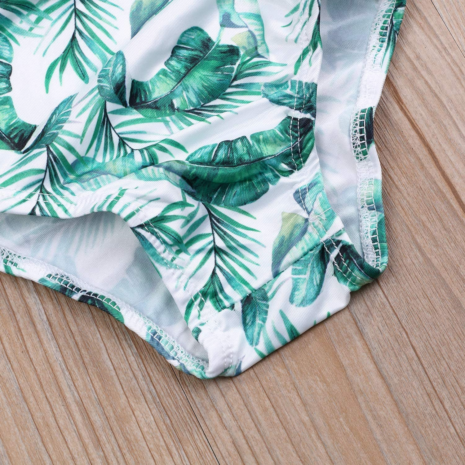 4-5T, Pink+Leaves Sun Protection Toddler Kids Baby Girls Sunsuit Tropical Leaves Print One//Two Pieces Swimsuit Bikini with UPF 50