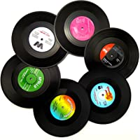 Coasters 6Pcs Set, GUGUJI Vinyl Record Disc Drink Coasters With Funny Colourful Labels, Perfect Gift For Music Lovers