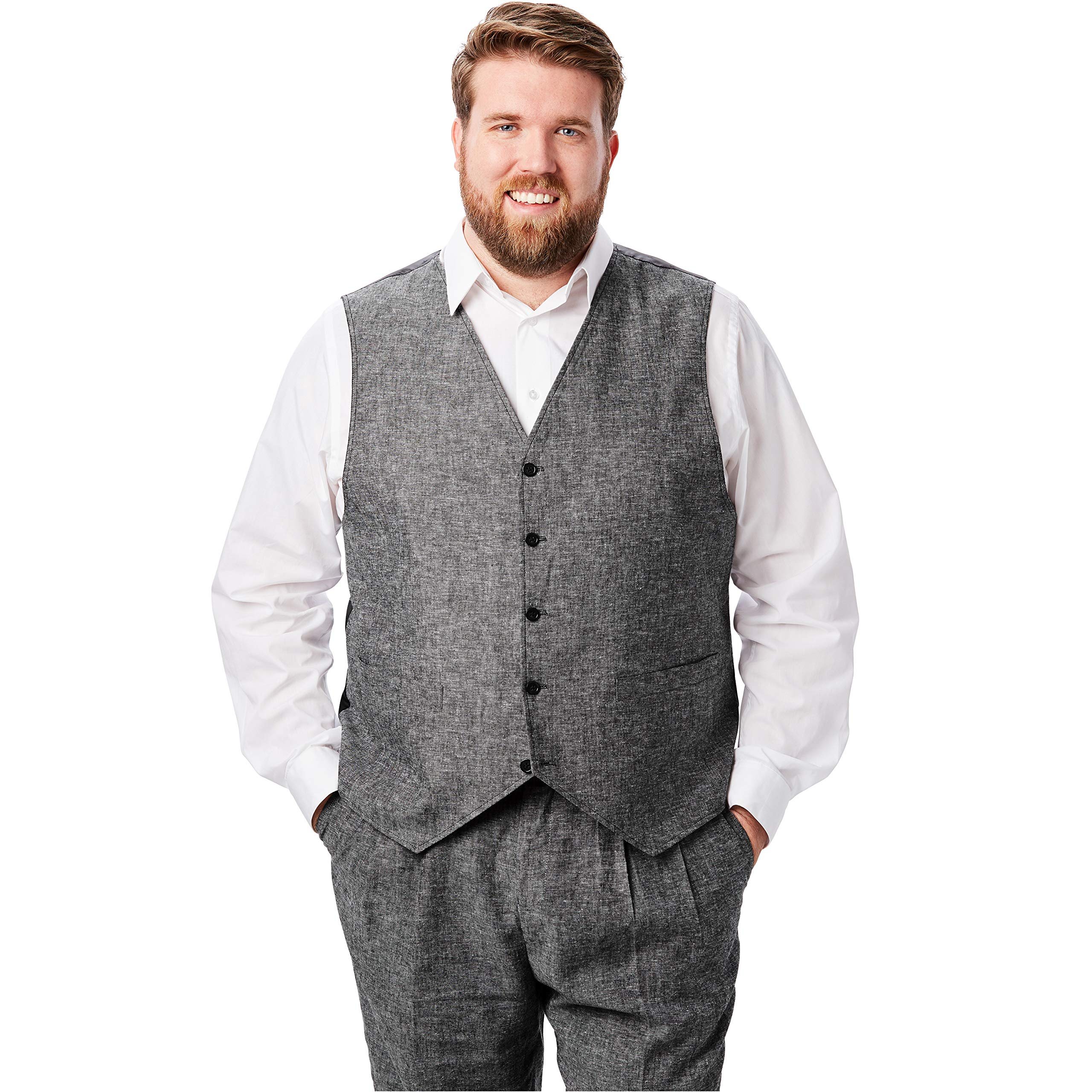 Kingsize Island Collection Men's Big & Tall Linen Blend 5 Button Suit Vest, Black Tall-58