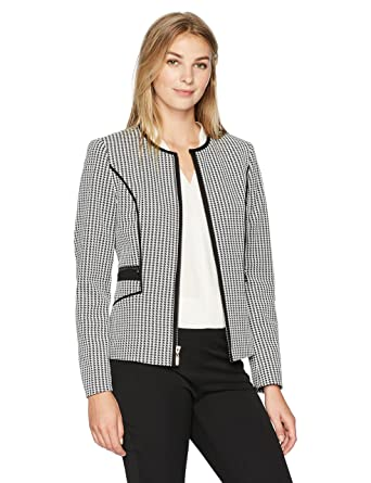 6b8311da410 Amazon.com  Kasper Women s Knit Houndstooth Zipper Front Jacket  Clothing