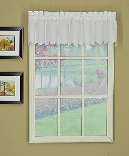 Today s Curtain Orleans 12 Valance Tambour Scallop Edge Curtain, White, 60 x 12