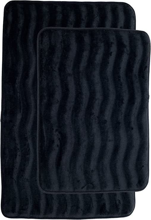 Amazon Com Lavish Home 2 Piece Memory Foam Bath Mat Black Home