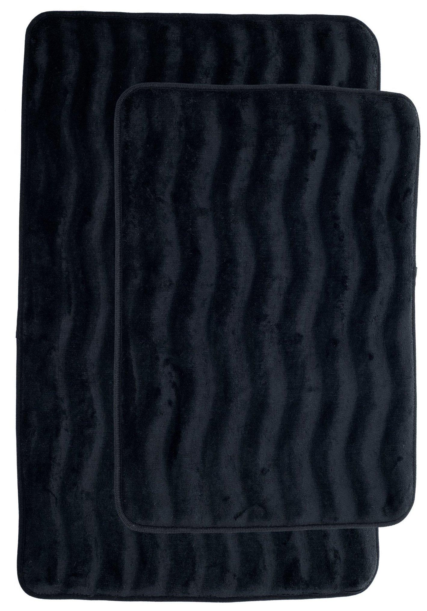 Lavish Home 2 Piece Memory Foam Bath Mat, Black