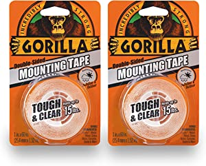 """Gorilla 6065016 6065001-2 Tough & Clear Mounting Tape, Double-Sided, 1"""" x 60"""", Clear, (Pack of 2), 2-Pack, 2 Piece"""