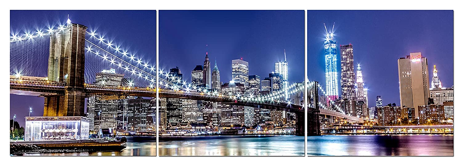Canvas Wall Art Decor - 24x24 3 Piece Set (Total 24x72 inch) - NYC Brooklyn Bridge At Night - Large Decorative & Modern Multi Panel Split Prints for Dining & Living Room, Kitchen, Bedroom & Office