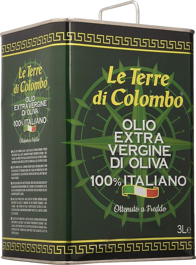 Le Terre di Colombo – 100% Italian Extra Virgin Olive Oil, Tin, 3 L: Amazon.co.uk: Grocery