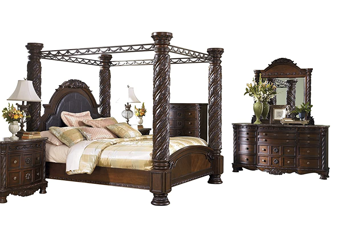 Ashley North Shore 6PC Bedroom Set E King Poster Canopy Bed Dresser Mirror Two Nightstand Chest in Dark Brown