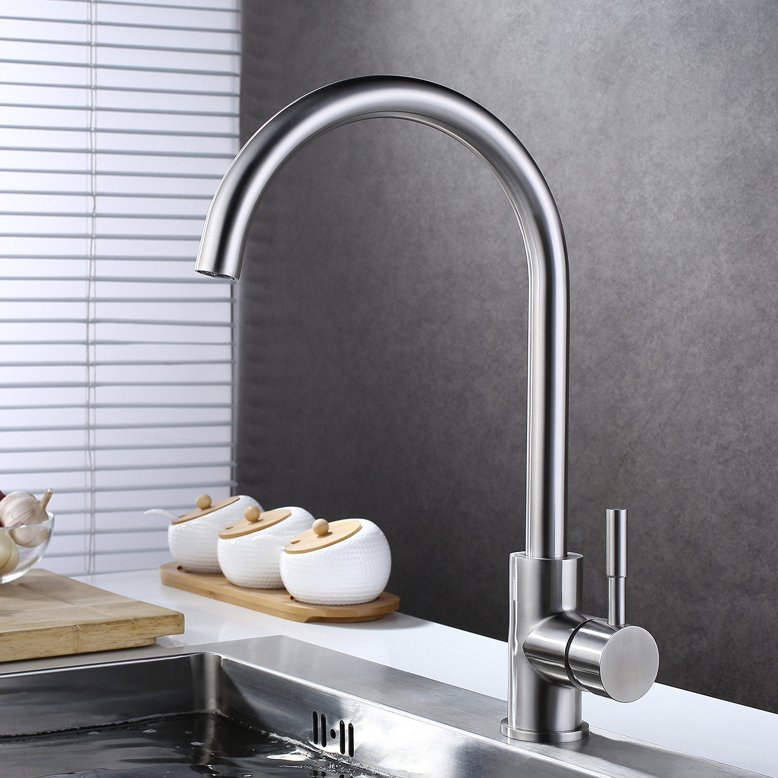 KAEN Single Handle Stainless Steel Kitchen Bar Prep Sink Faucet, Hot and Cold Mixer, Brushed Nickel