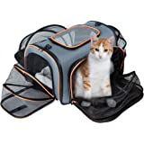 Expandable Pet Carrier, Veckle Airline Approved 4 Sides Expansion Pet Cat Travel Tote Bag Foldable Soft Side Carrier for Cats Dogs and Small Animals