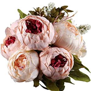 Leagel Fake Flowers Vintage Artificial Peony Silk Flowers Bouquet Wedding Home Decoration, Pack of 1 (Light Pink)