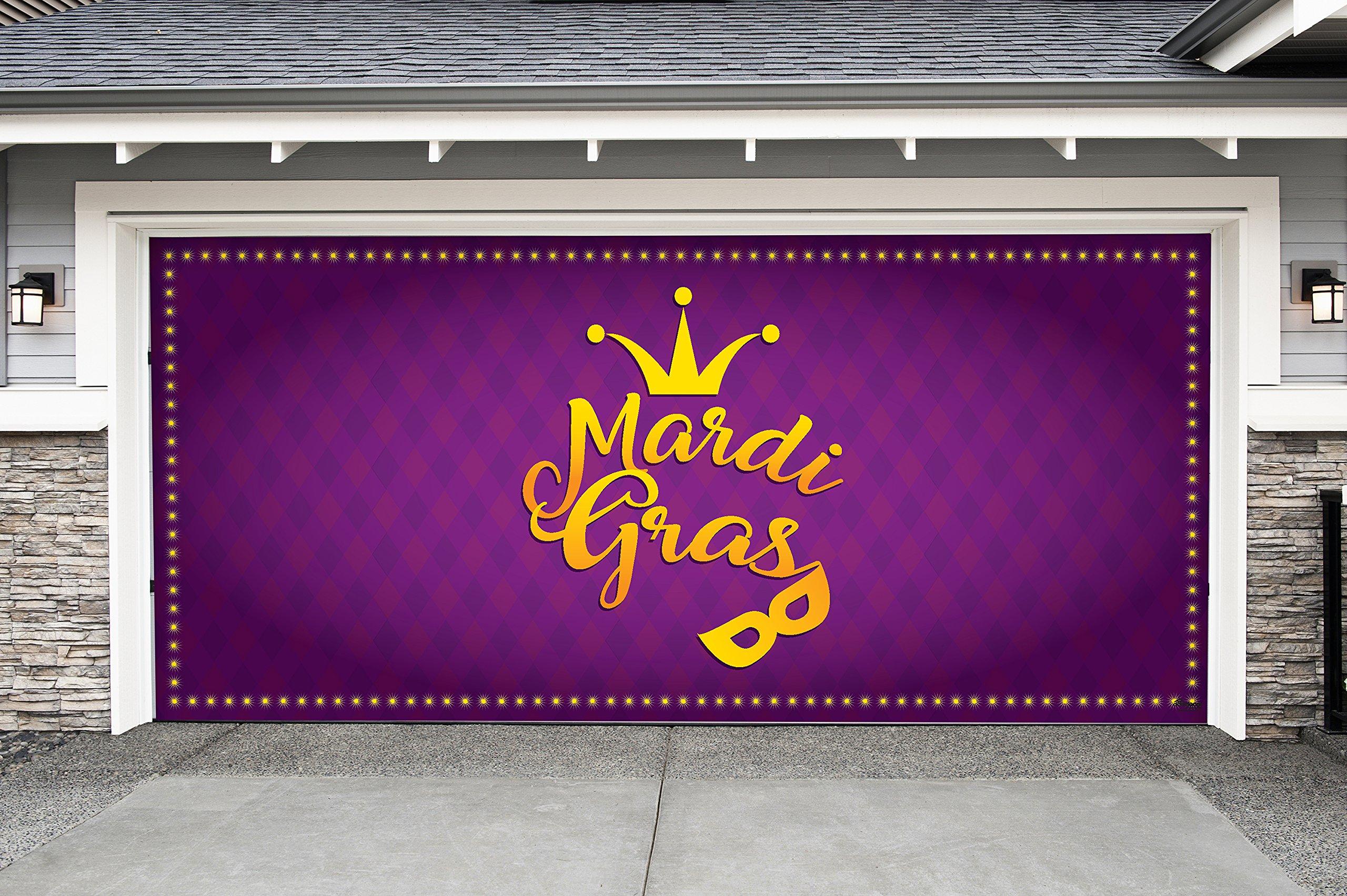 Outdoor Mardi Gras Decorations Garage Door Banner Cover Mural Décoration 7'x16' - Mardi Gras Crown and Mask - ''The Original Mardi Gras Supplies Holiday Garage Door Banner Decor''