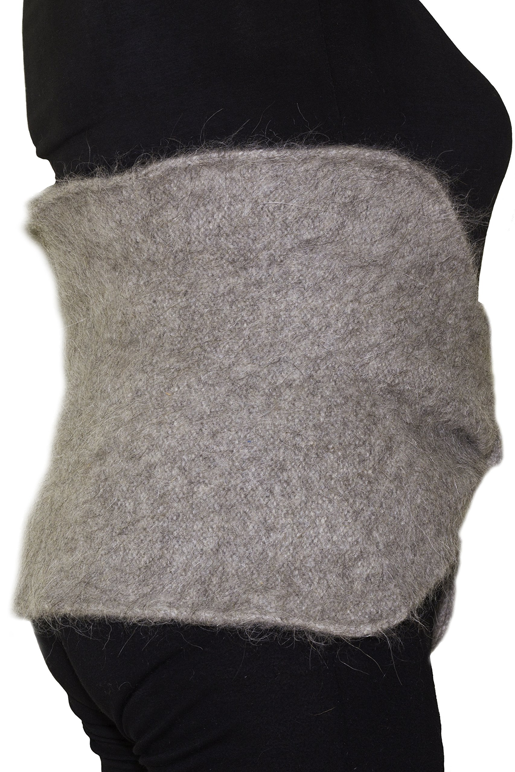 Thick Natural Mohair Warm Wool Waist Warmer by Granny's Knitwear (Light Grey, Large)