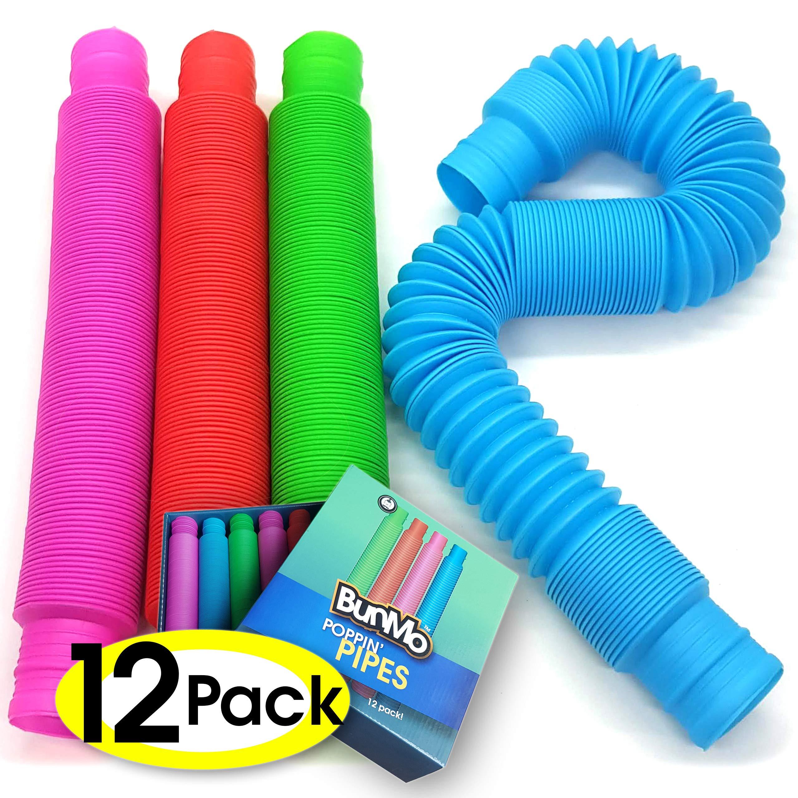 BUNMO Pop Tubes Fidget Toys - 12 Pack by BUNMO
