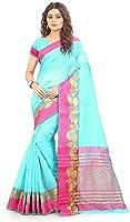 Royal Export Women's Cotton Silk Saree (Blue)