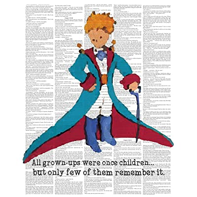 Little Prince Upcycled Like Print 08x10 Inch Print, The Little Prince Colorful Inspired Quote Le Petit Prince Upcycled Like Art Print Wall Decor Quotes Art Nursery Wall Hanging, Wall Décor for Kids: Posters & Prints