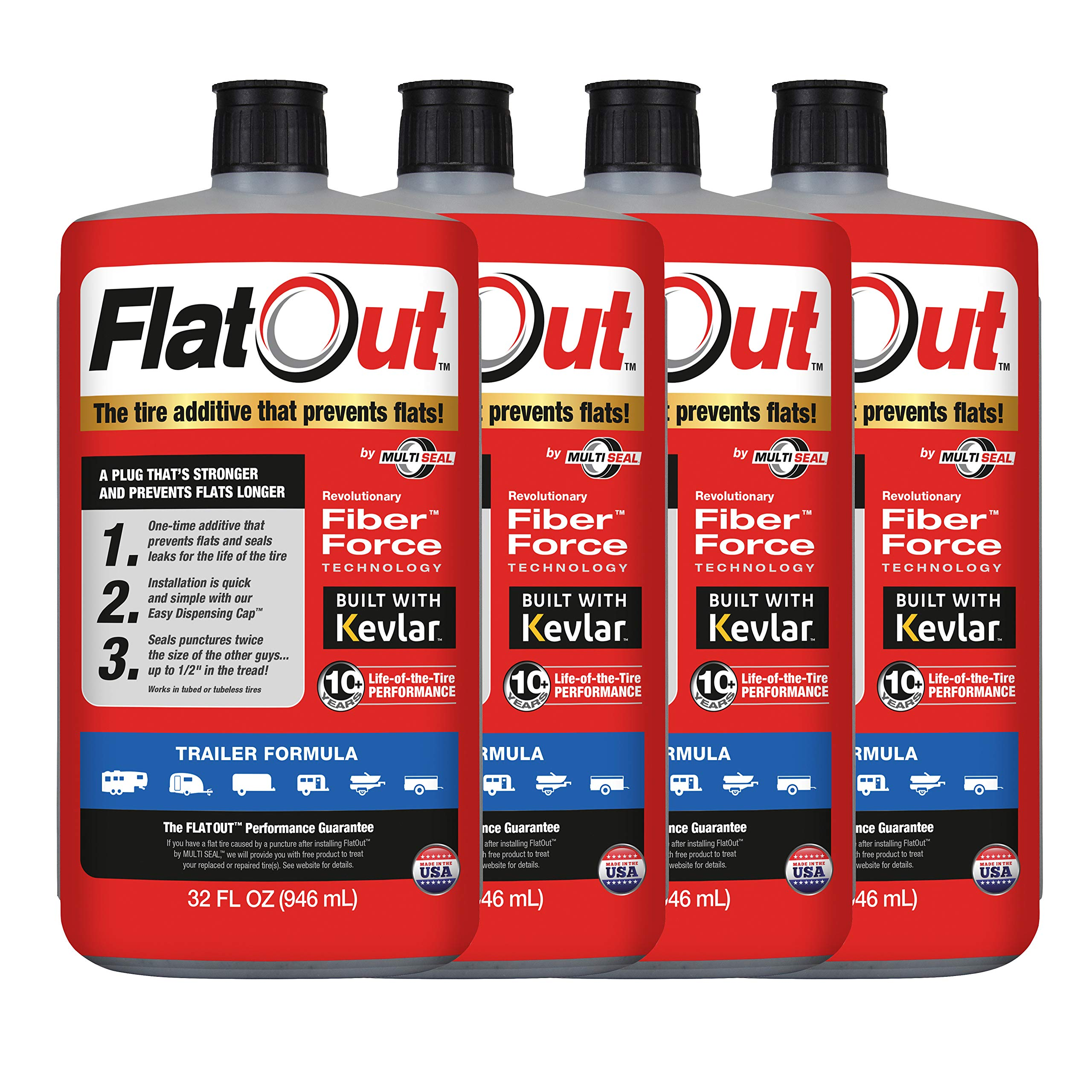MULTI SEAL 20144 4-Pack (128 oz Sealant) FlatOut Tire Additive Formula, for Travel, Boat, Horse, Toy Haulers, Cargo, Utility Trailers and More, 4 Pack by MULTI SEAL