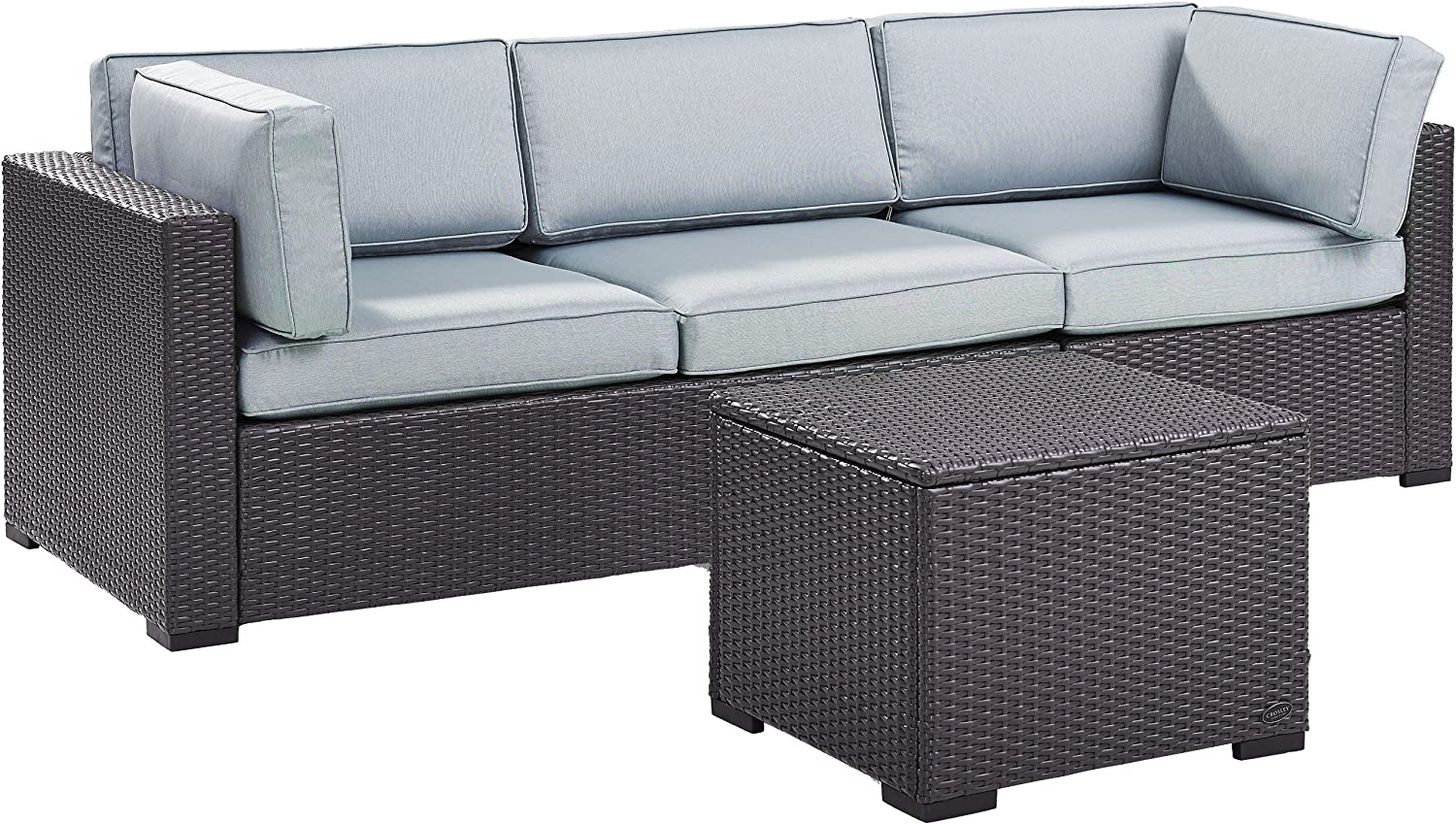 Crosley Furniture KO70111BR-MI Biscayne 3-Piece Outdoor Wicker Seating Set, Brown with Mist Cushions