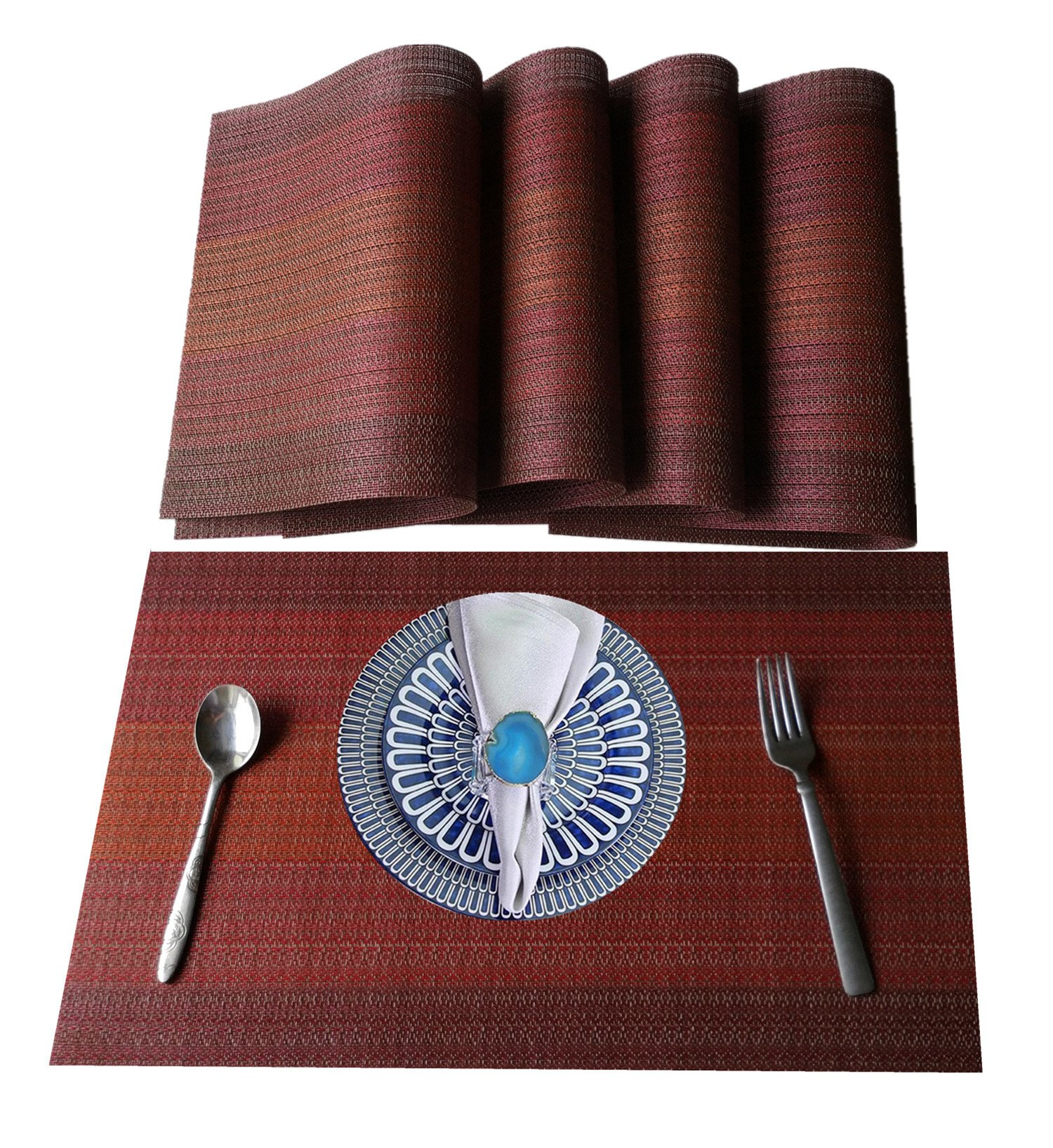 """WANGCHAO Placemats Set of 8 Heat Insulation Stain Resistant Placemat Dining Table Durable Crossweave Woven Vinyl Kitchen Table Mats Placemat (Ombre red, Set of 8) - Woven Vinyl/crossweave,PACKAGE Include 8 pcs of placemats,each measures:18""""X12""""(45cmX30cm); NEW DESIGN:Top-grade exquisite design placemats feel good would be the best decoration and Protection to your tables if yo have children. EASY CARE:Washable table placemat,non-fading,non-stain,Not mildew,Wipe Clean,and dries very quickly; - placemats, kitchen-dining-room-table-linens, kitchen-dining-room - 91rVqRC 6YL -"""