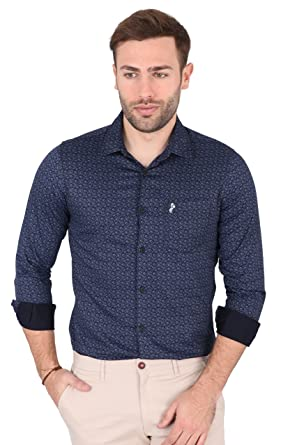 5894fd38dd SKY WATER Men's Navy Blue Colour Graphic Print Full Sleeve Casual Slim Fit  Shirt