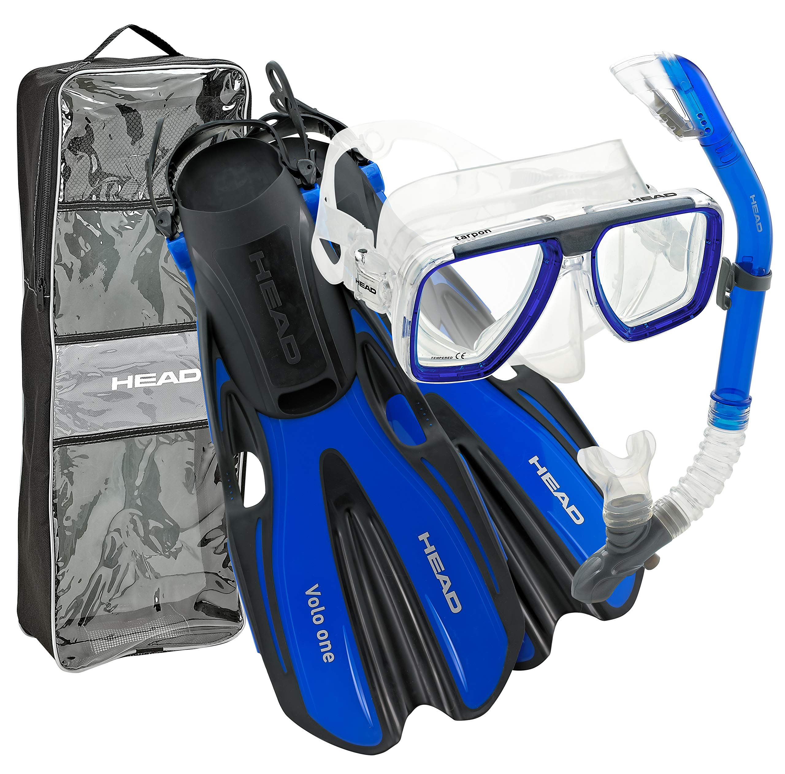HEAD By Mares Tarpon Travel Friendly Premium Mask Fin Snorkel Set, Blue, Small, (4-6) by HEAD