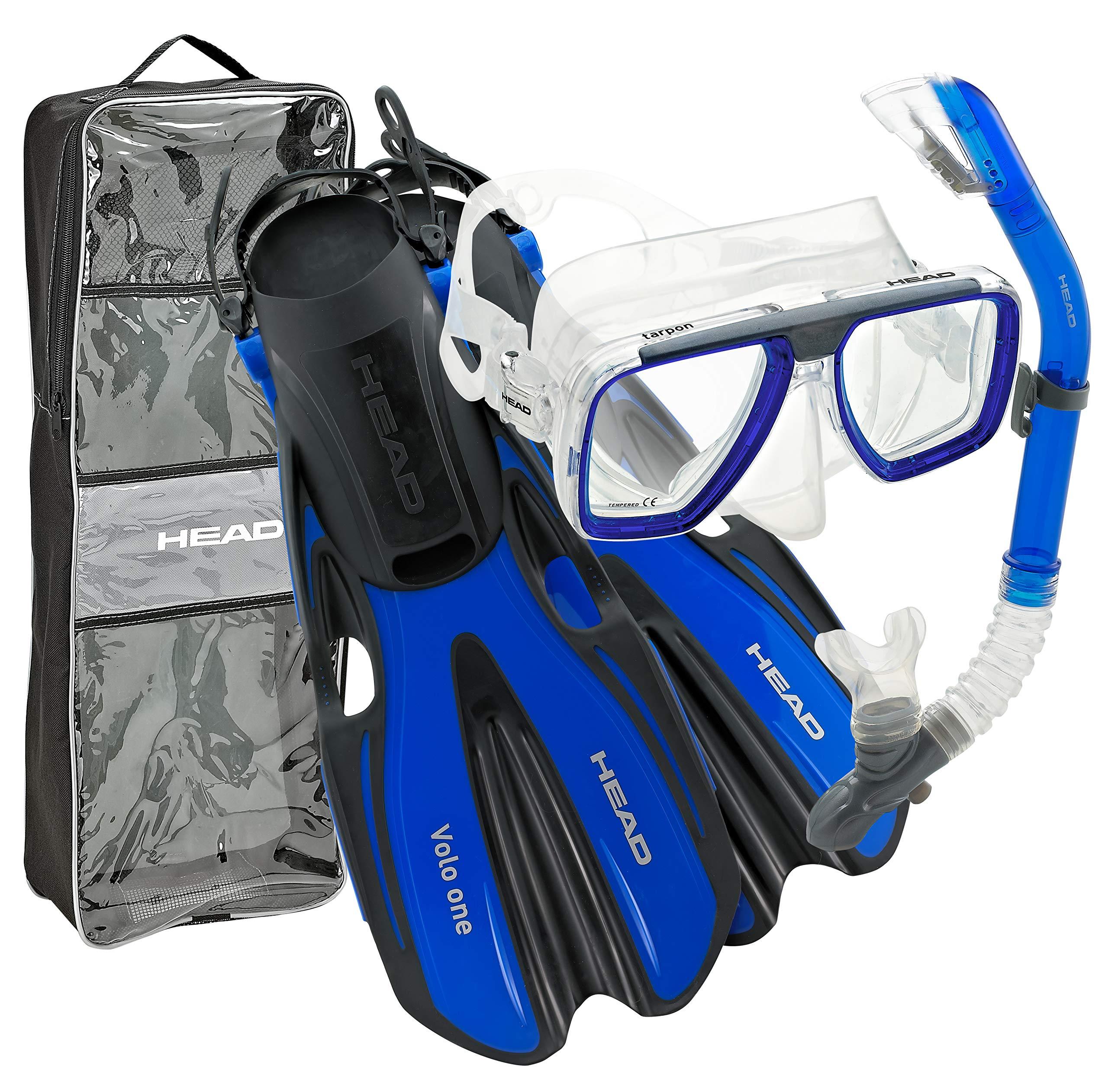 HEAD By Mares Tarpon Travel Friendly Premium Mask Fin Snorkel Set, Blue, Small, (4-6)