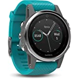 Garmin 010-01685-01 Fenix 5S Multisport GPS Watch with Outdoor Navigation and Wrist-Based Heart Rate, Silver with Turquoise Band