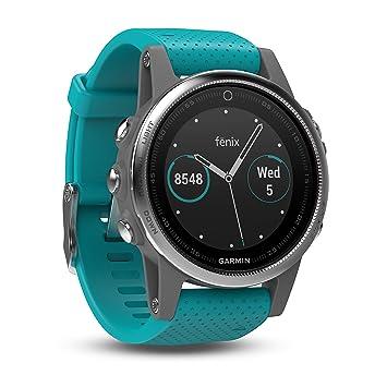 Garmin Fēnix 5S - Montre GPS Multisports Outdoor - Argent avec Bracelet Turquoise