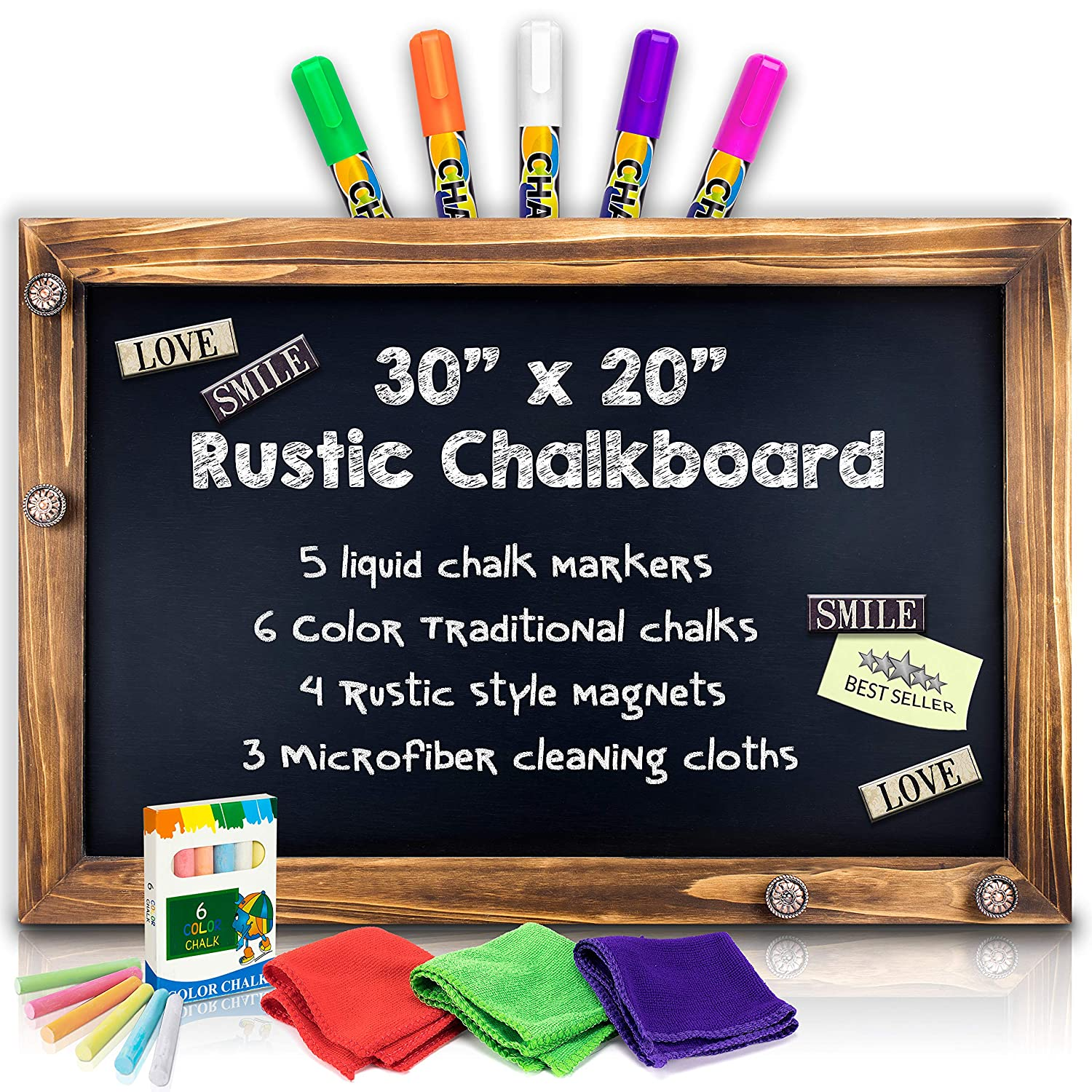 "Shefio Large Framed Chalkboard Sign - Wall Hanging Magnetic Blackboard with Rustic Handmade ""Burnt"" Wood Frame. For Home or Business. 20x30 Inches - Lots of Free Bonus Accessories"
