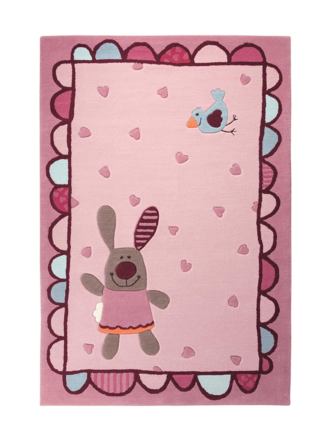 Sigikid Kinderteppich 3 Happy Friends Hearts | rose | 170 x 240 cm