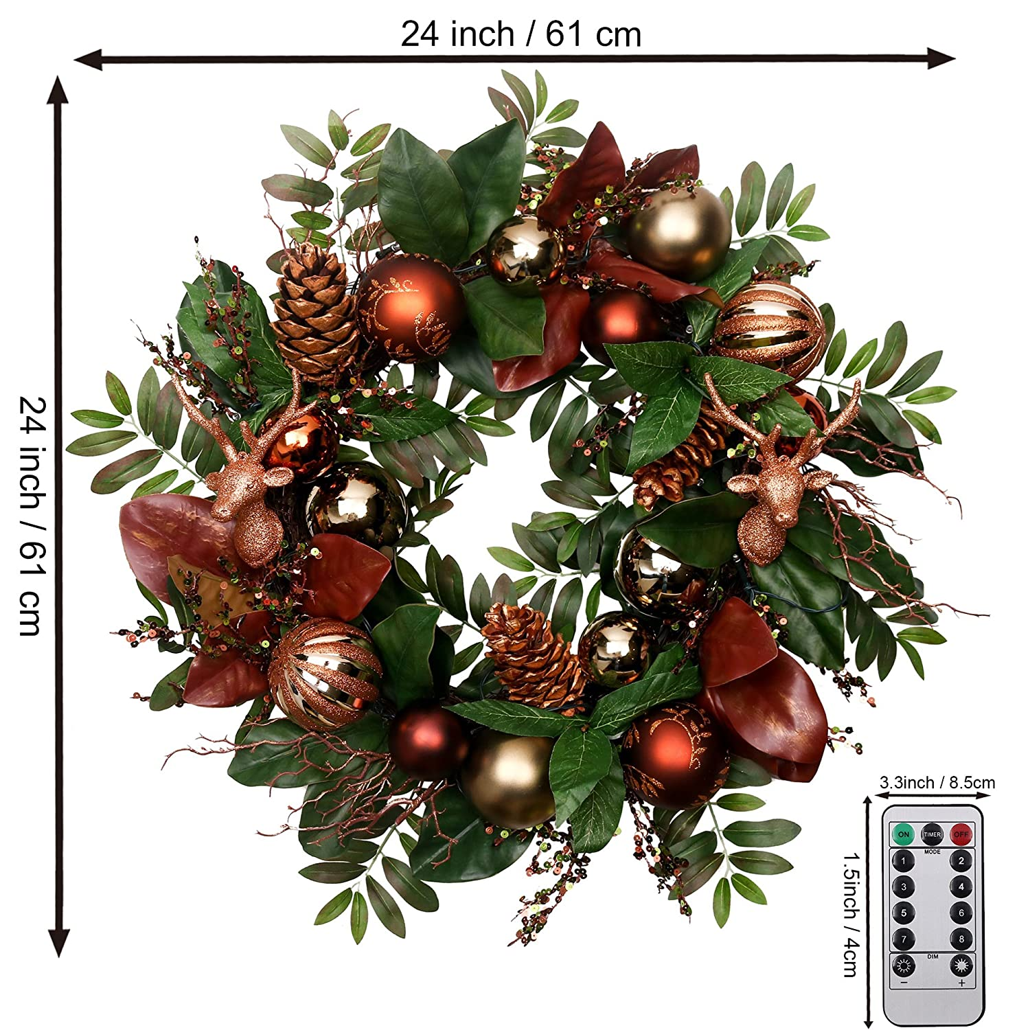 Christmas Woodland Bronze and Copper Decorated Wreath - ChristmasTablescapeDecor.com