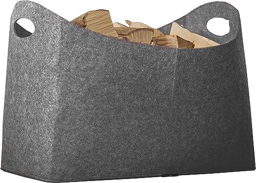 Kaminholz Filztasche Ma/ße 54 x 30 x 39 cm Grau Rubberneck Kaminholztasche XL aus Filz f/ür Holz Zeitungen