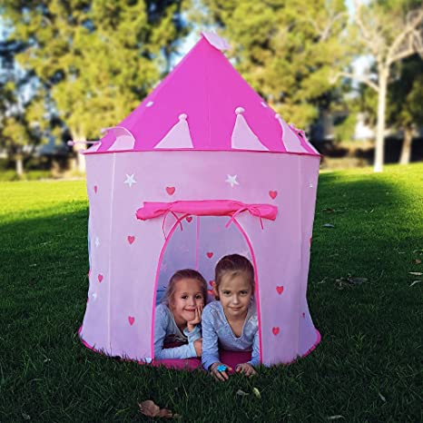 95dac30be941 Kids Play Tent for Girls Princess Castle Playhouse with glow in the dark  stars and Carry