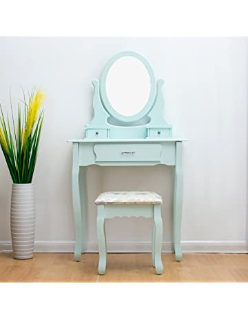 e59cdd72fa CherryTree Furniture Dressing Table 3-Drawer Makeup Dresser Set with Stool  Oval Mirror BF001