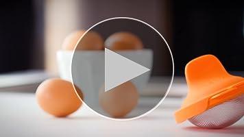 Lékué Escalfador de Huevos, Acero Inoxidable, Naranja, 9,3 x 11 x ...