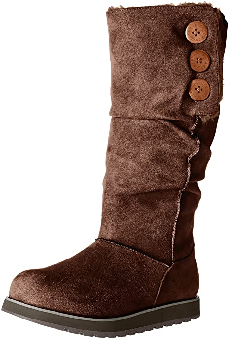 Skechers Women's Keepsakes-Big Button Slouch Tall Winter Boot, Chocolate, 5 M US
