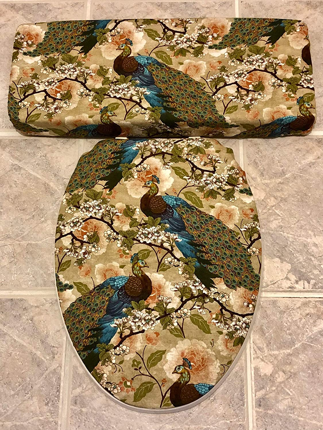 Peacock Toilet Seat Cover set by Audrey Belisle