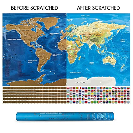 Amazon scratchable world map by vagabond scratch off map with scratchable world map by vagabond scratch off map with country flags detailed us gumiabroncs Choice Image
