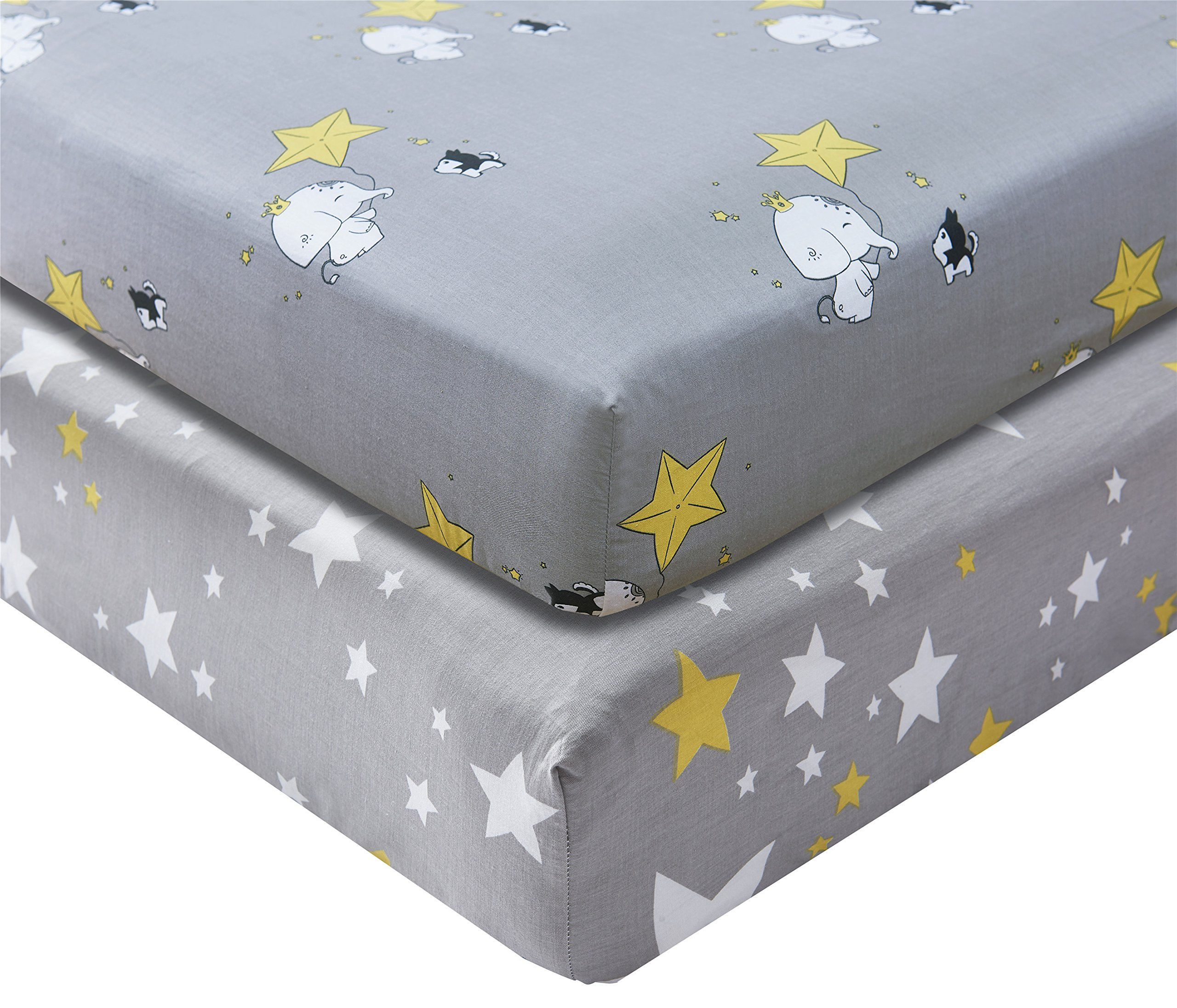 Kachabros 100% Cotton Crib Sheets Nursery Bedding for Boy 2 Pack Soft in Gray with Elephant Dog and Yellow Stars