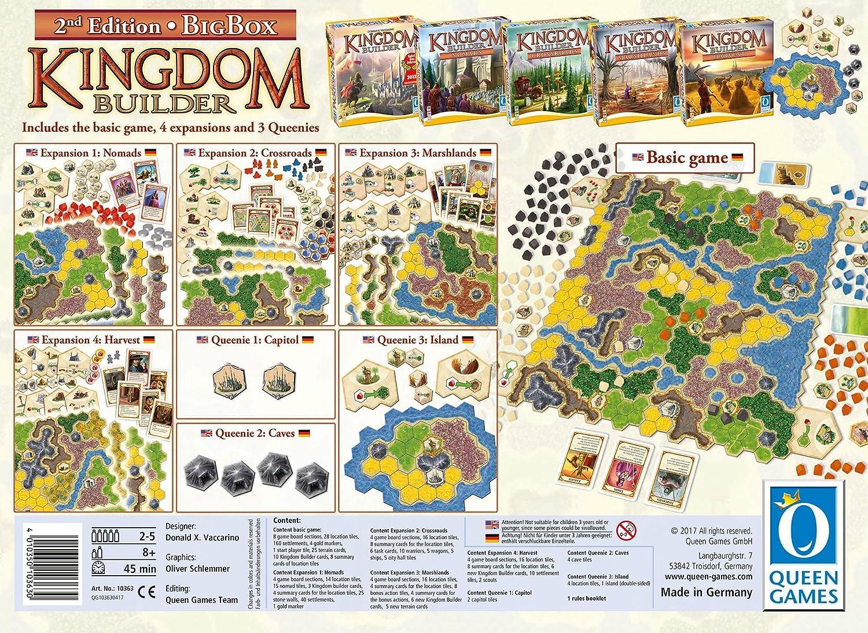 Queen Games Juego de Estrategia Kingdom Builder 10363, Caja Grande, Segunda edición, Juego básico con Todas Las expansiones y Queenies: Amazon.es: Juguetes y juegos