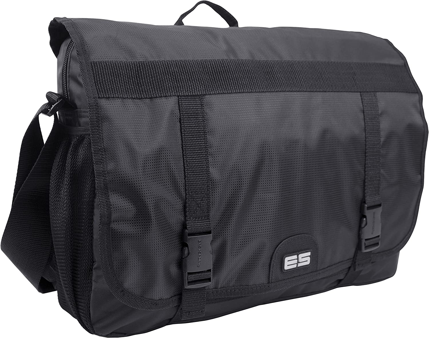 Eastsport Double Buckle Laptop Messenger, Black, One Size